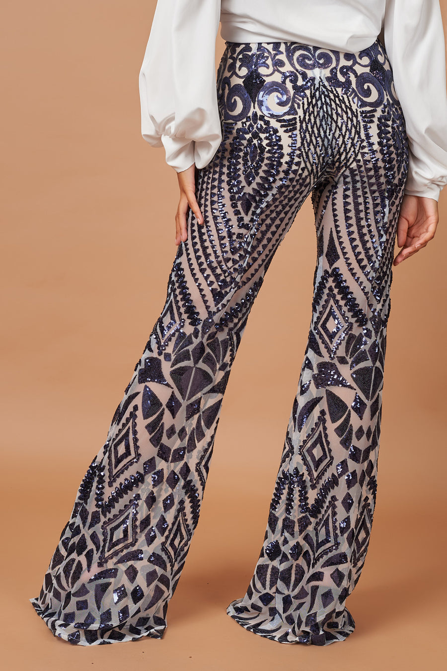 Navy Sequin Trousers