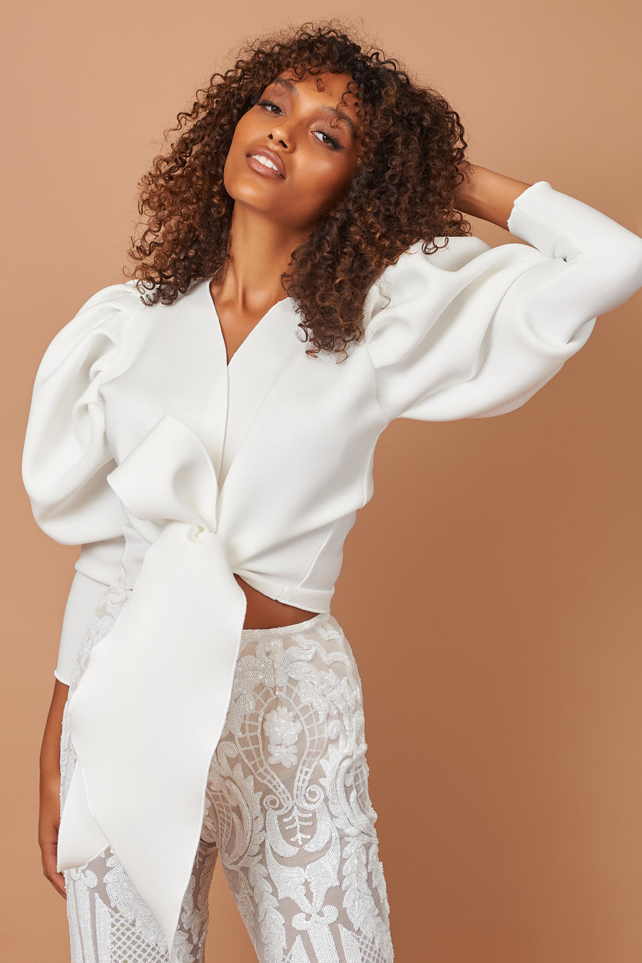 Ivory Puff Sleeve Tie Top