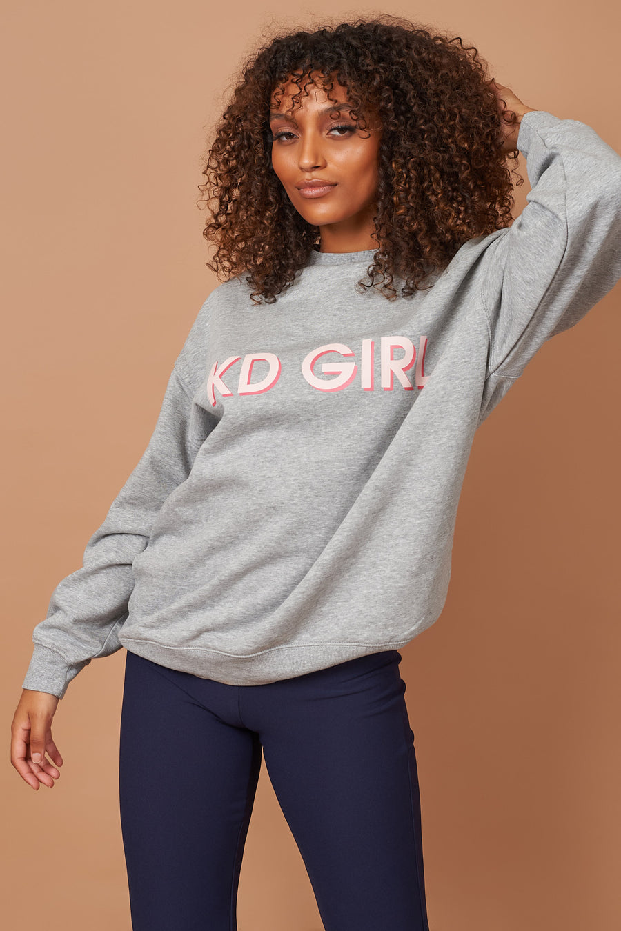 Grey KD Girl Slogan Sweater