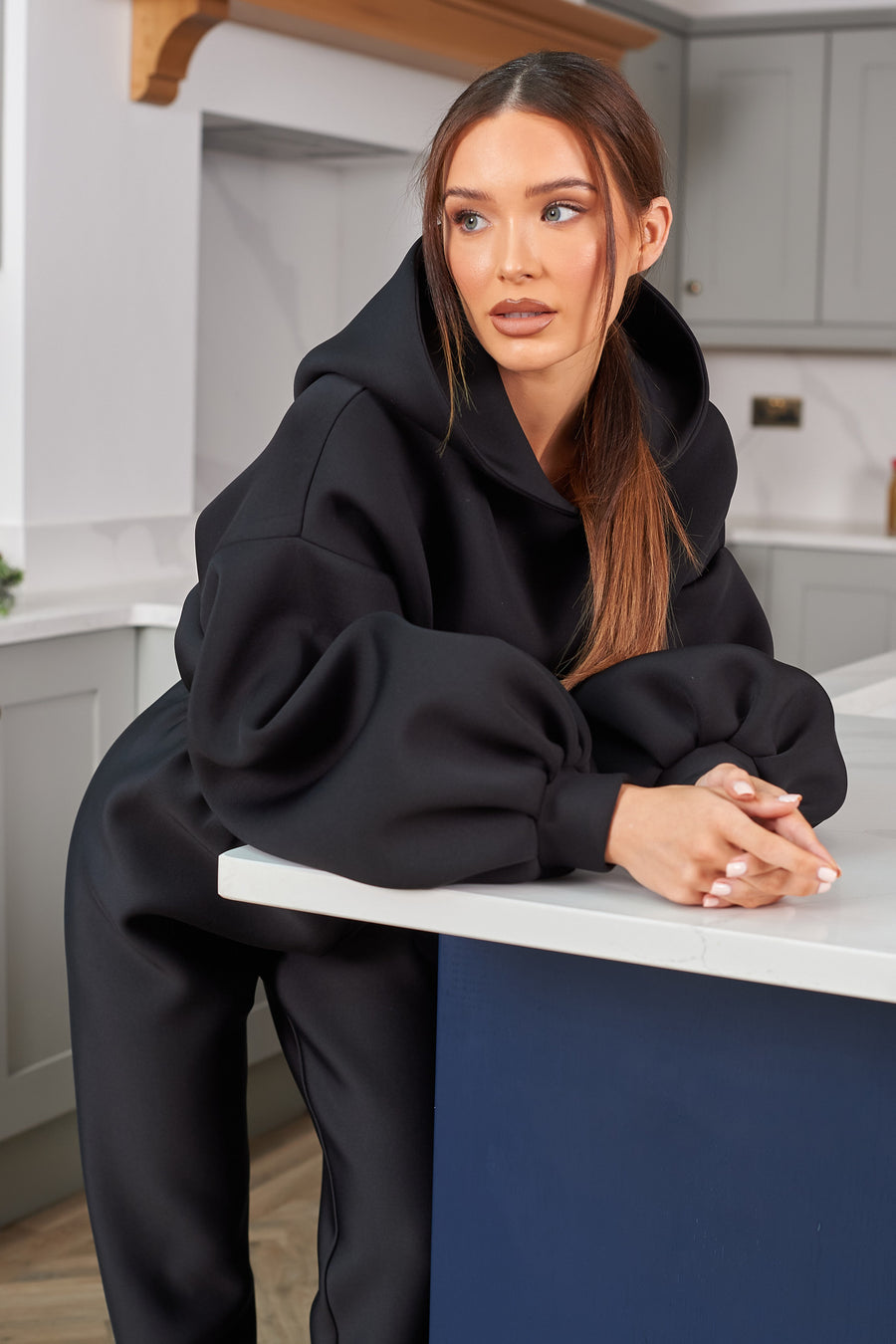 Black Long Balloon Sleeve Hoodie - SALE - Length - Long