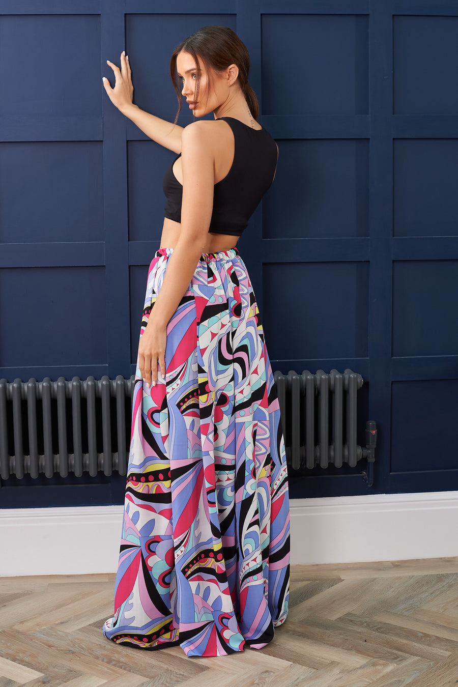 Pink and Blue Print Wide Leg Trouser