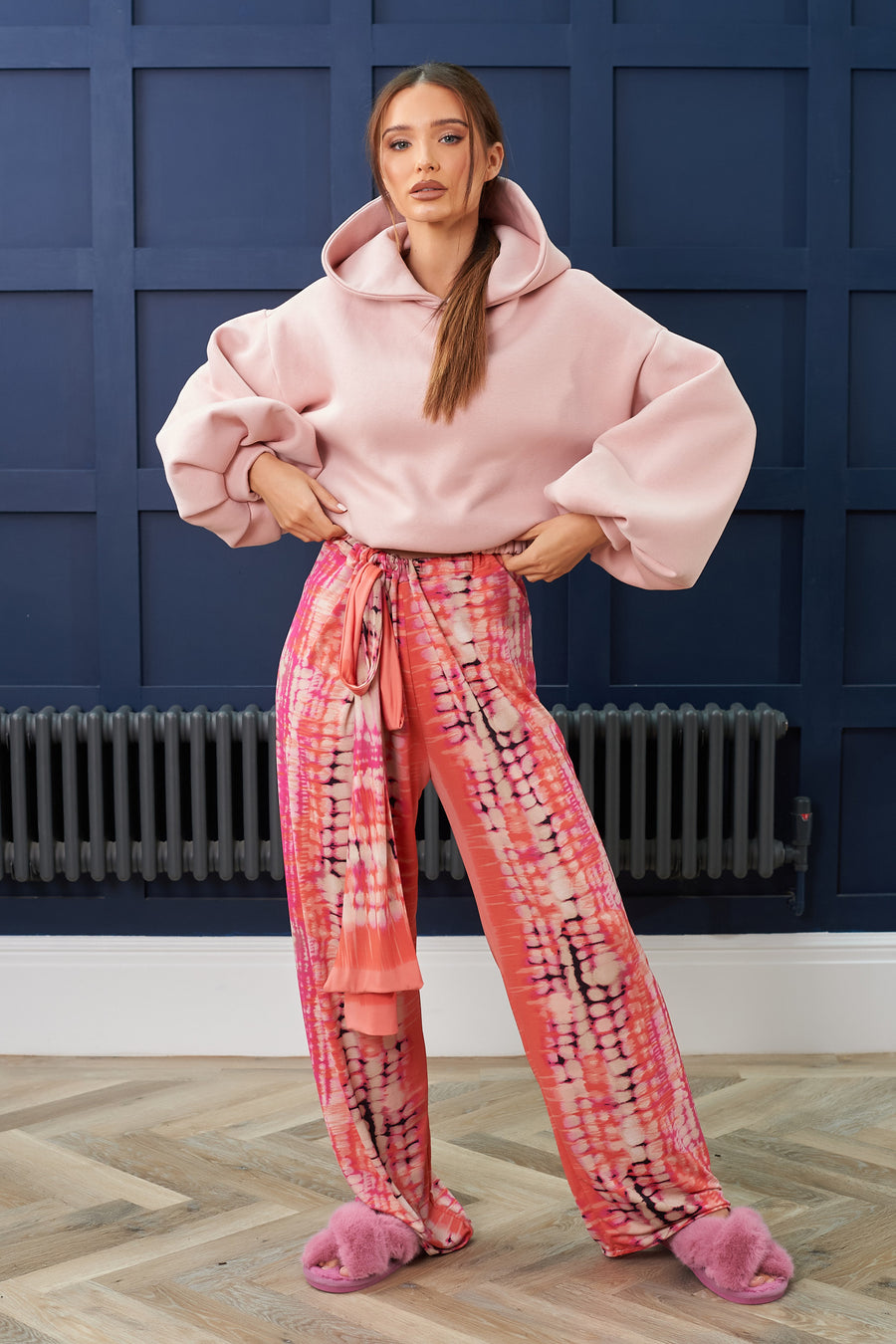 Coral and Pink Tie Dye Lounge Trousers