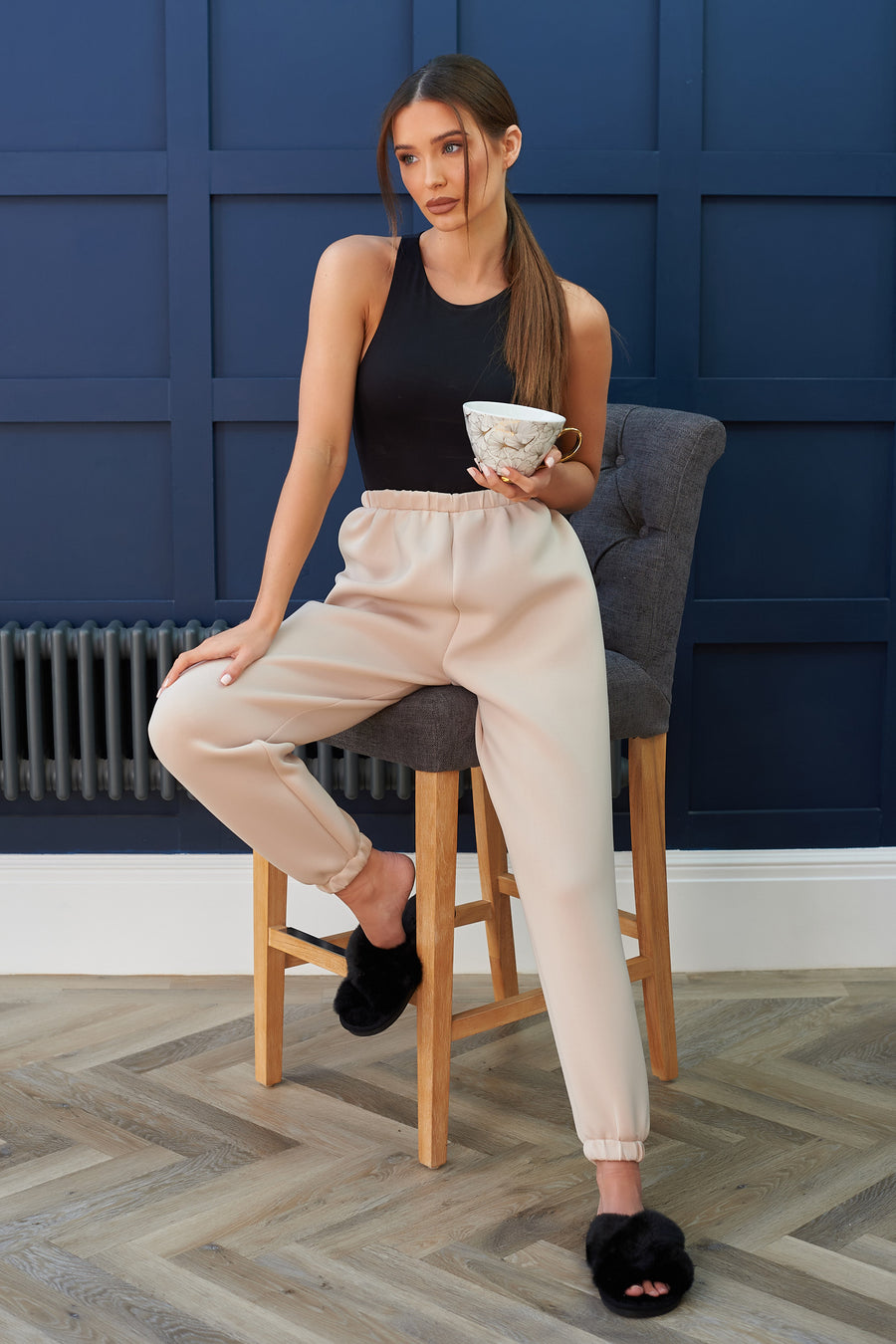 Beige Neoprene High Rise Lounge Jogger - SALE