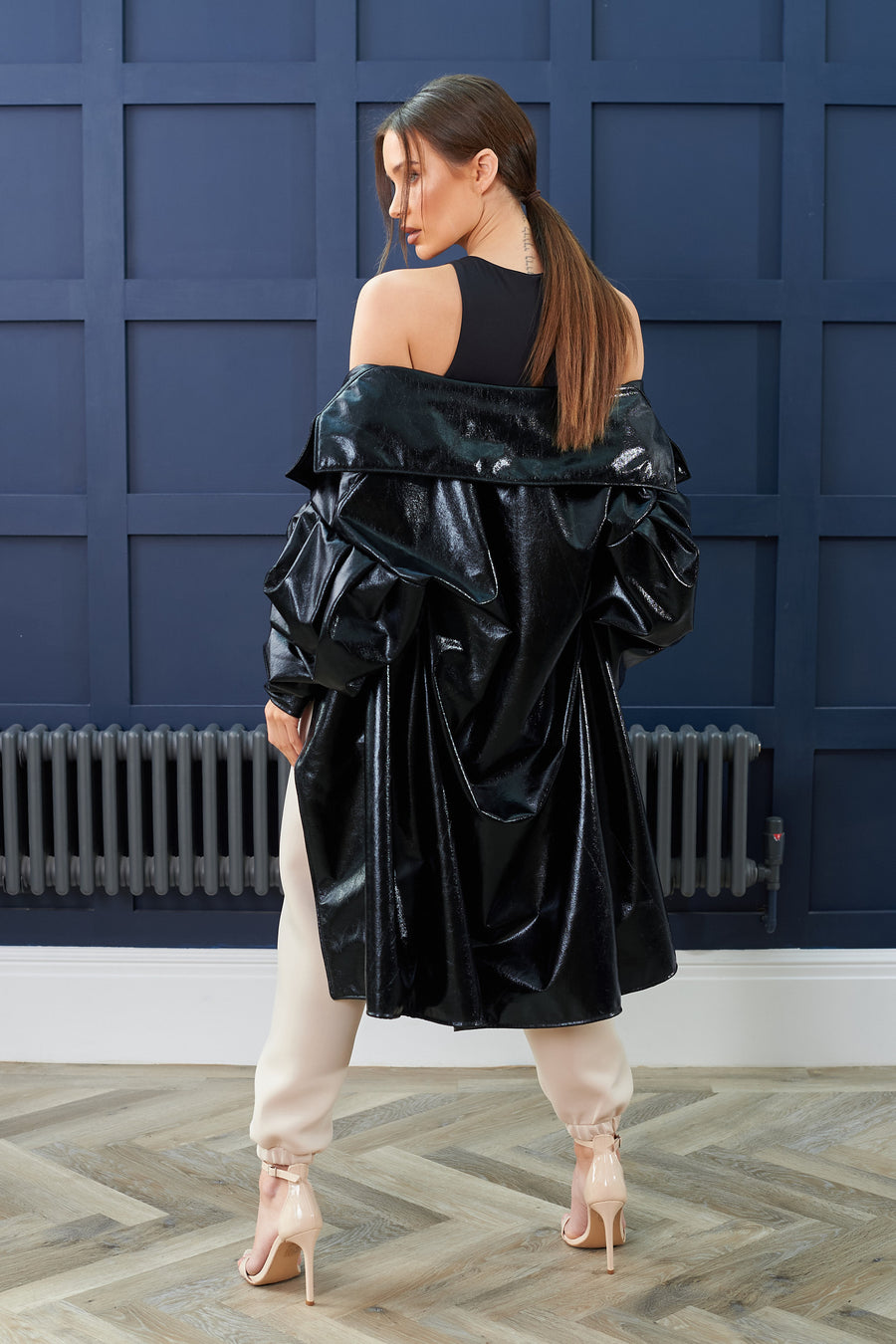 Black PVC Wrap Coat