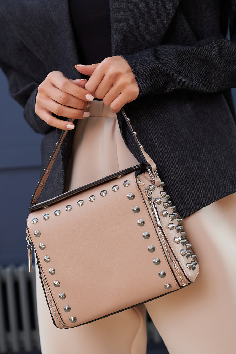 Taupe Studded Grab Bag