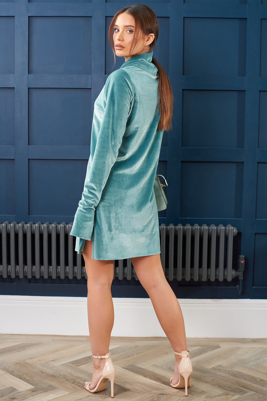 Teal Velvet Sweater Dress - SALE - Size 10