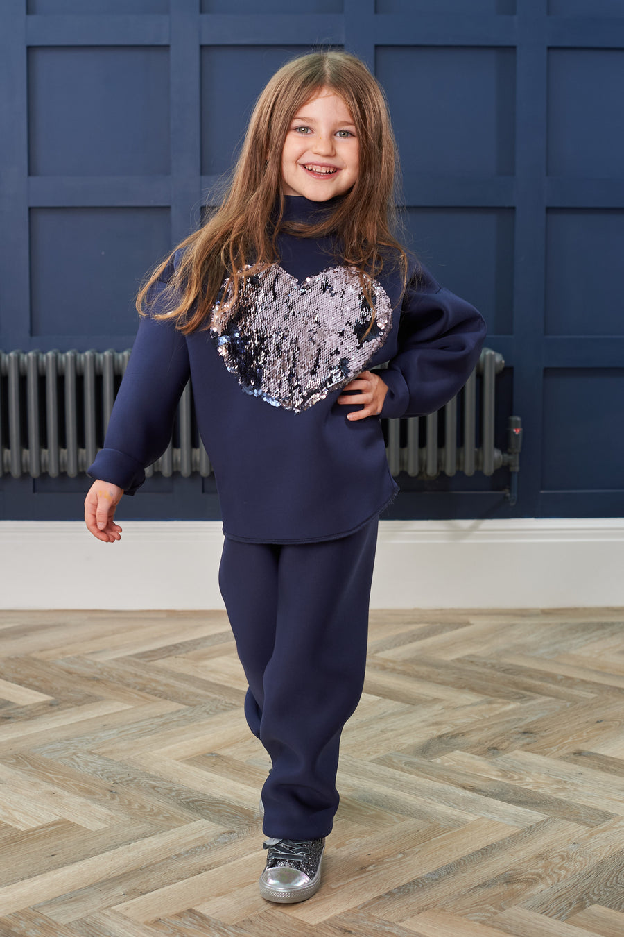 Navy Reversible Sequin Kids Jumper