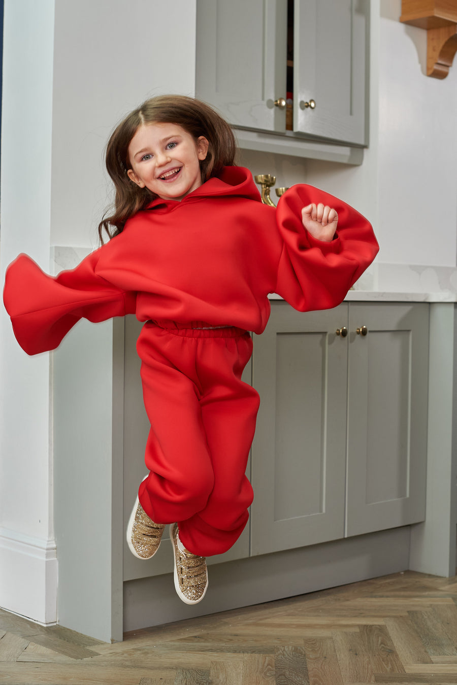 Red Neoprene Kids Lounge Jogger