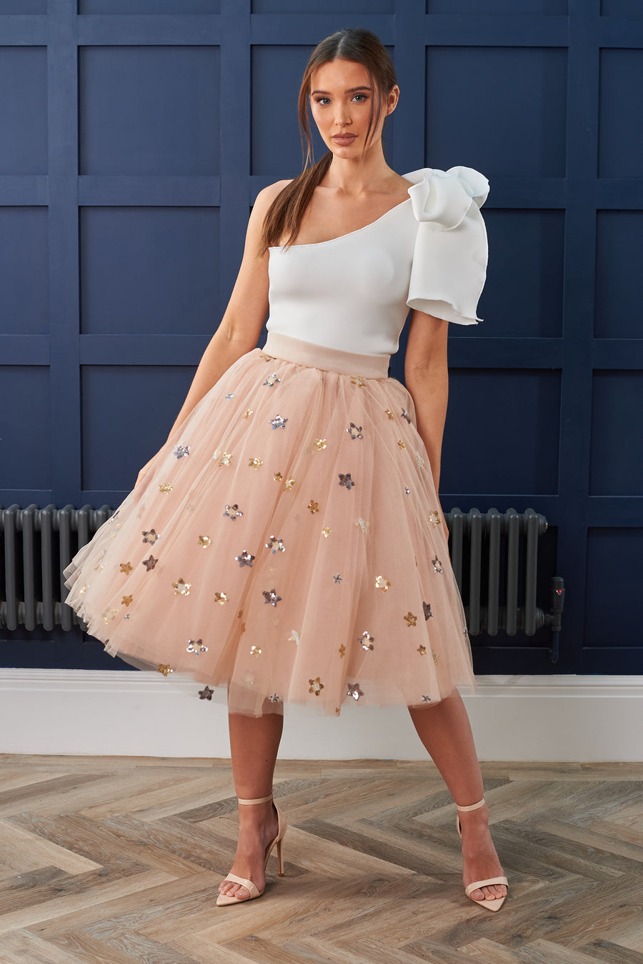 Beige Star Sequin Tulle Skirt