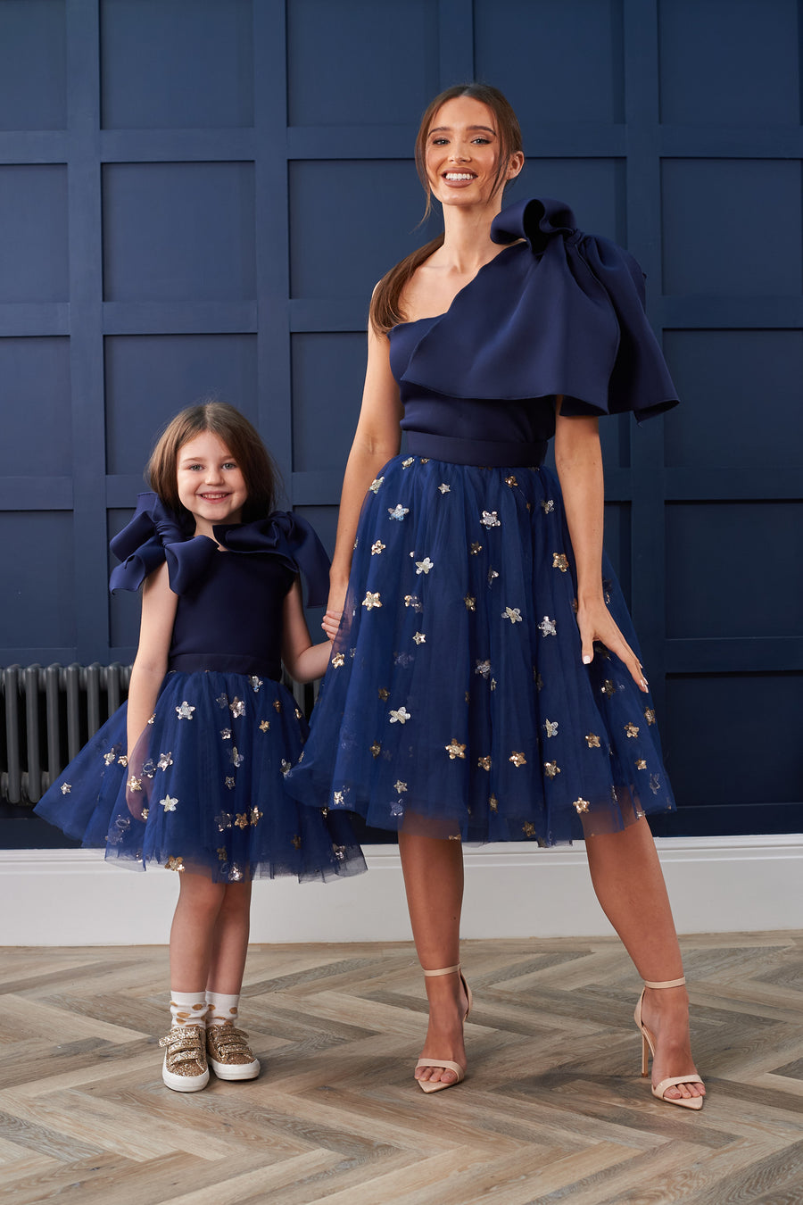 Navy Bow Star Sequin Dress
