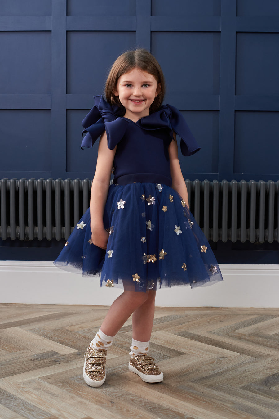 KD Kids Navy Bow Star Tulle Dress