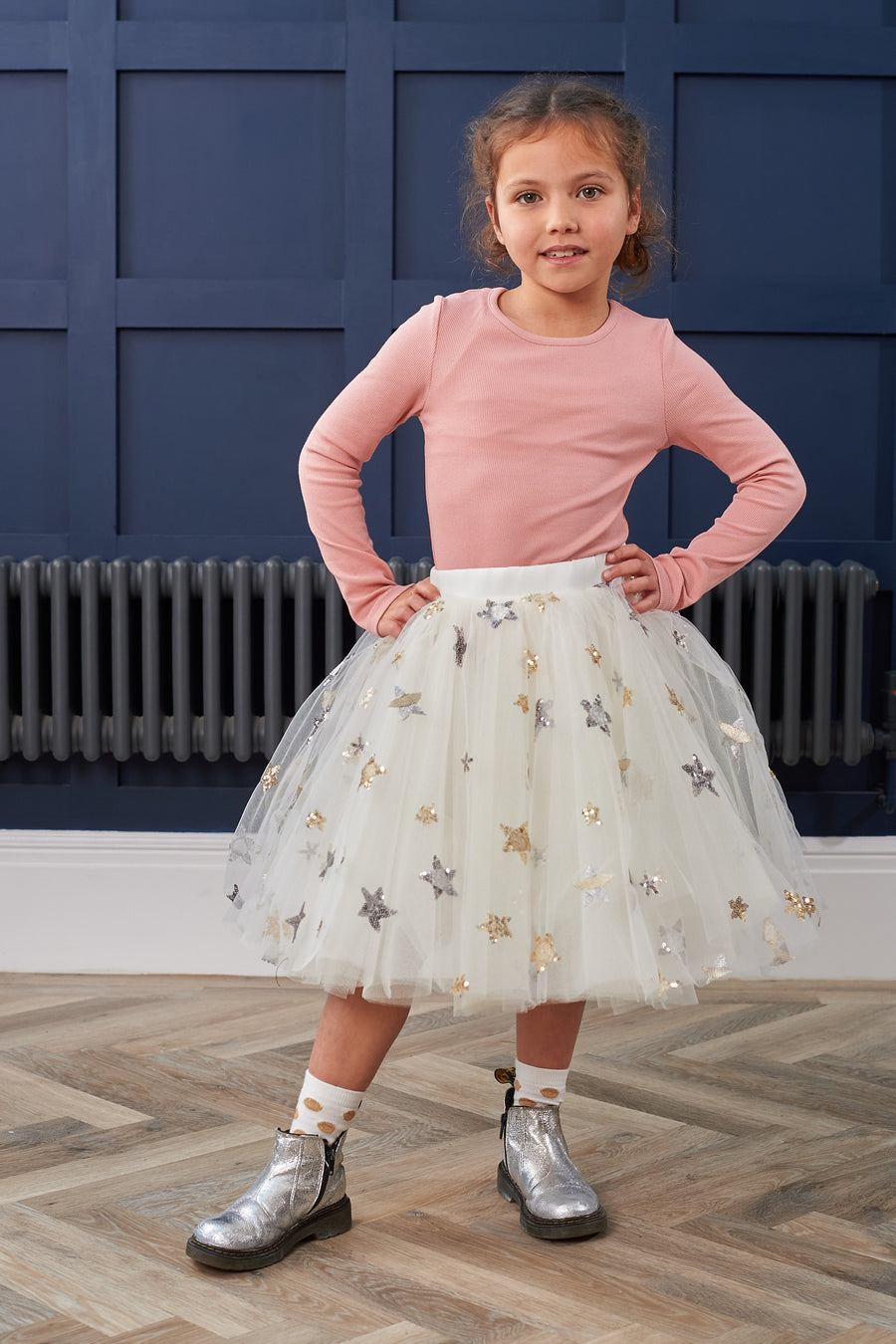 KD Kids Ivory Star Tulle Skirt