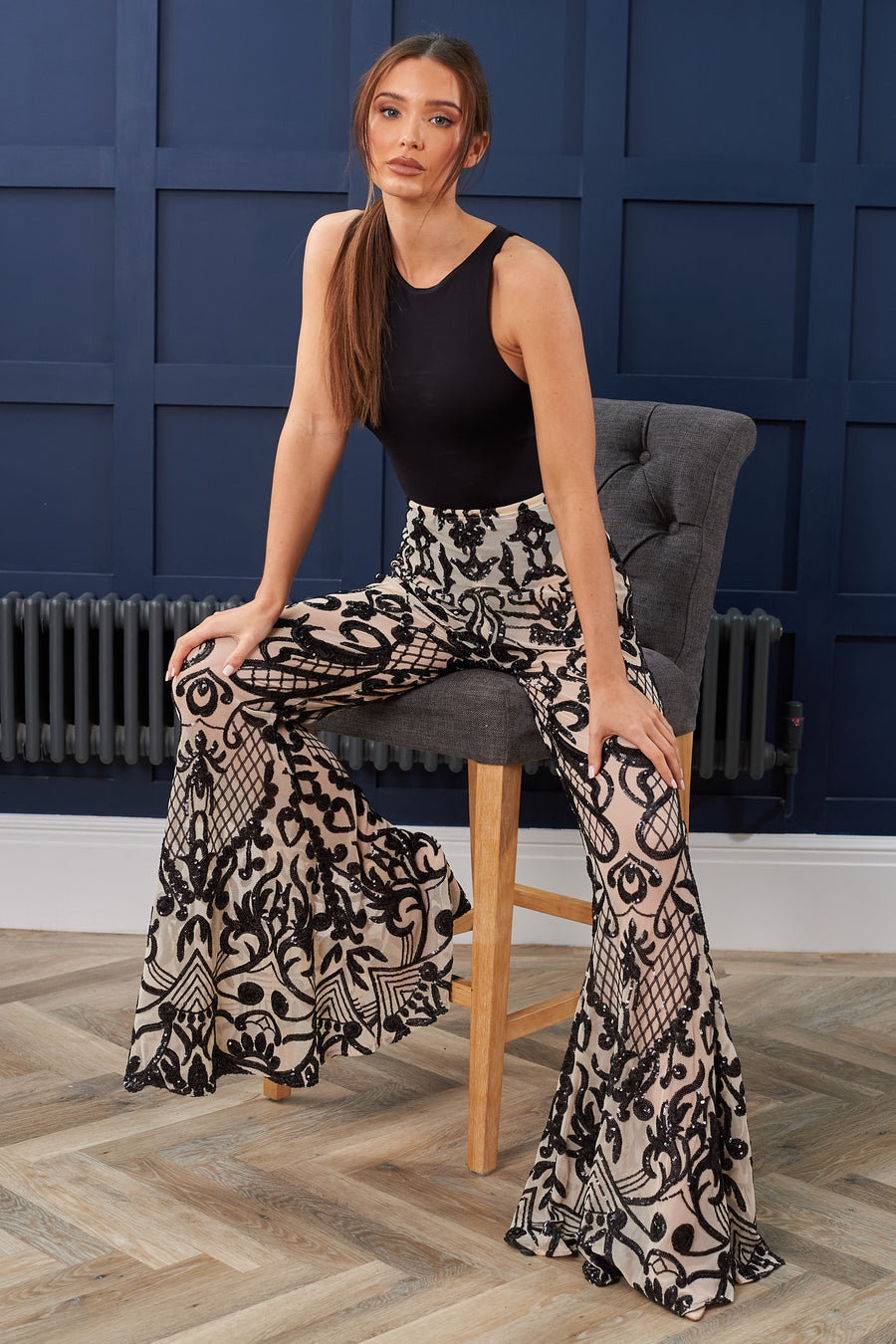 Black Swirl Sequin Stretch Flares