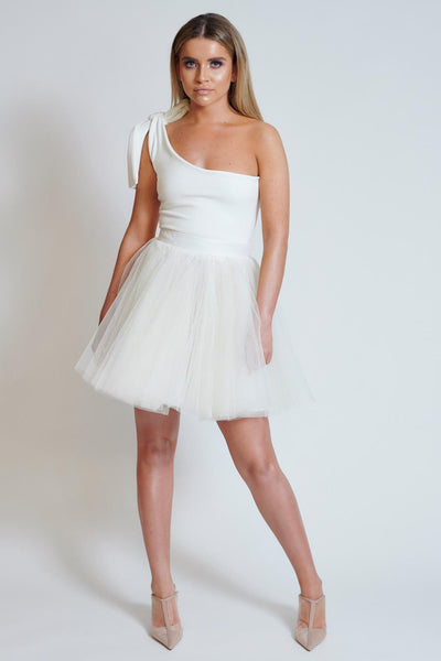 Ivory Tulle One Shoulder Mini Dress
