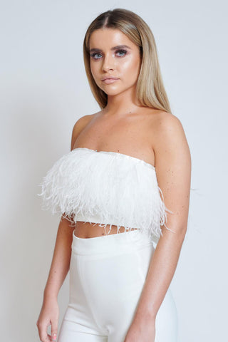 Ivory Feather Trim Bandeau Top