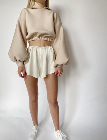 Champagne Satin Lounge Shorts