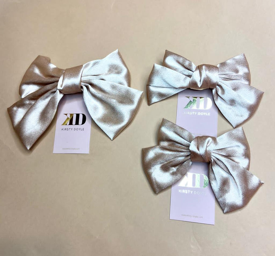 Mommy and Me Matching Nude Satin Bow Clips