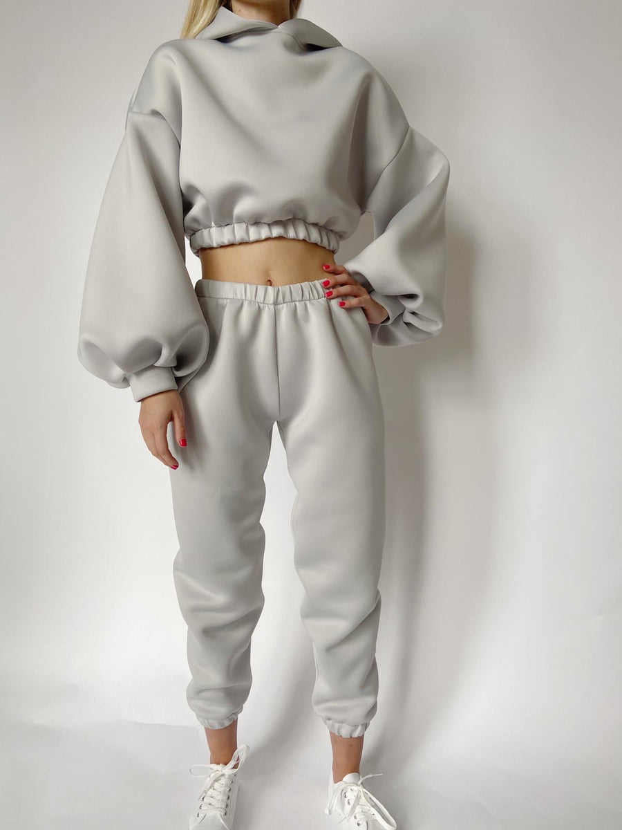 Silver Neoprene Cropped Lounge Set