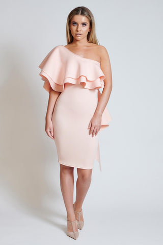 Peach Ruffle One Shoulder Dress