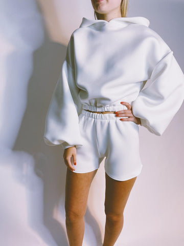 Ivory Hoodie and Short Lounge Set