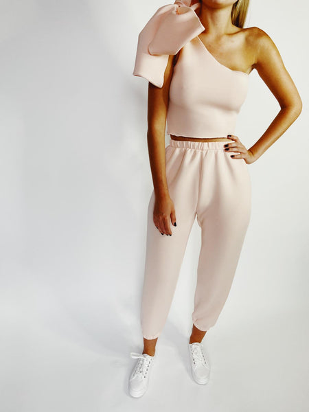 Peach Neoprene High Rise Lounge Jogger