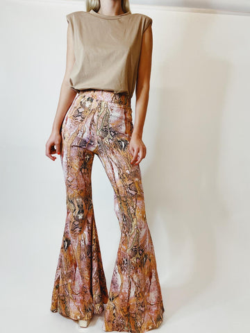 Pink and Peach Snake Print Stretch Flares