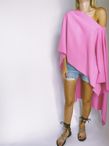 Rose Pink Asymmetric Drape Top