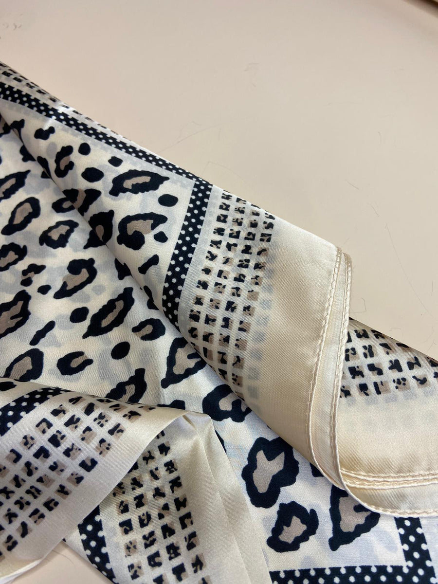 Ivory Leopard Silk Square Scarf