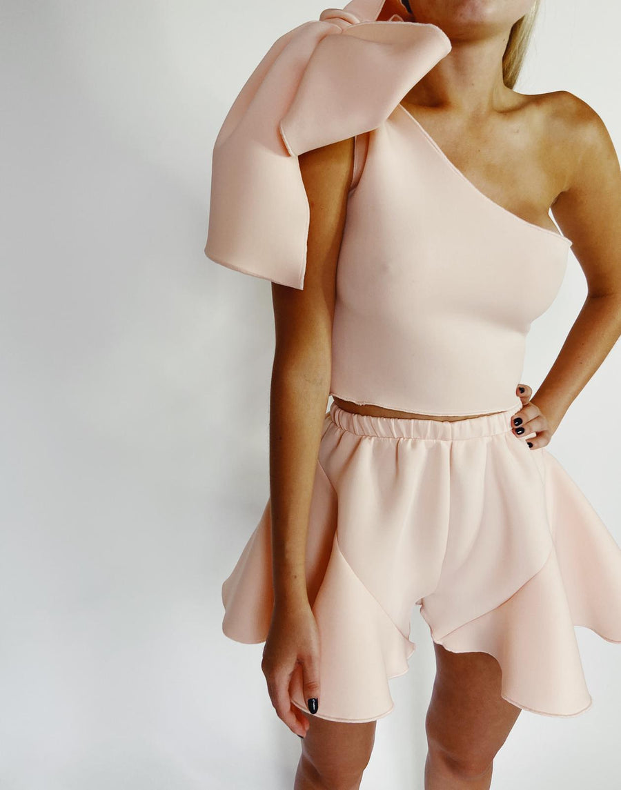 Peach Neoprene Frill Shorts