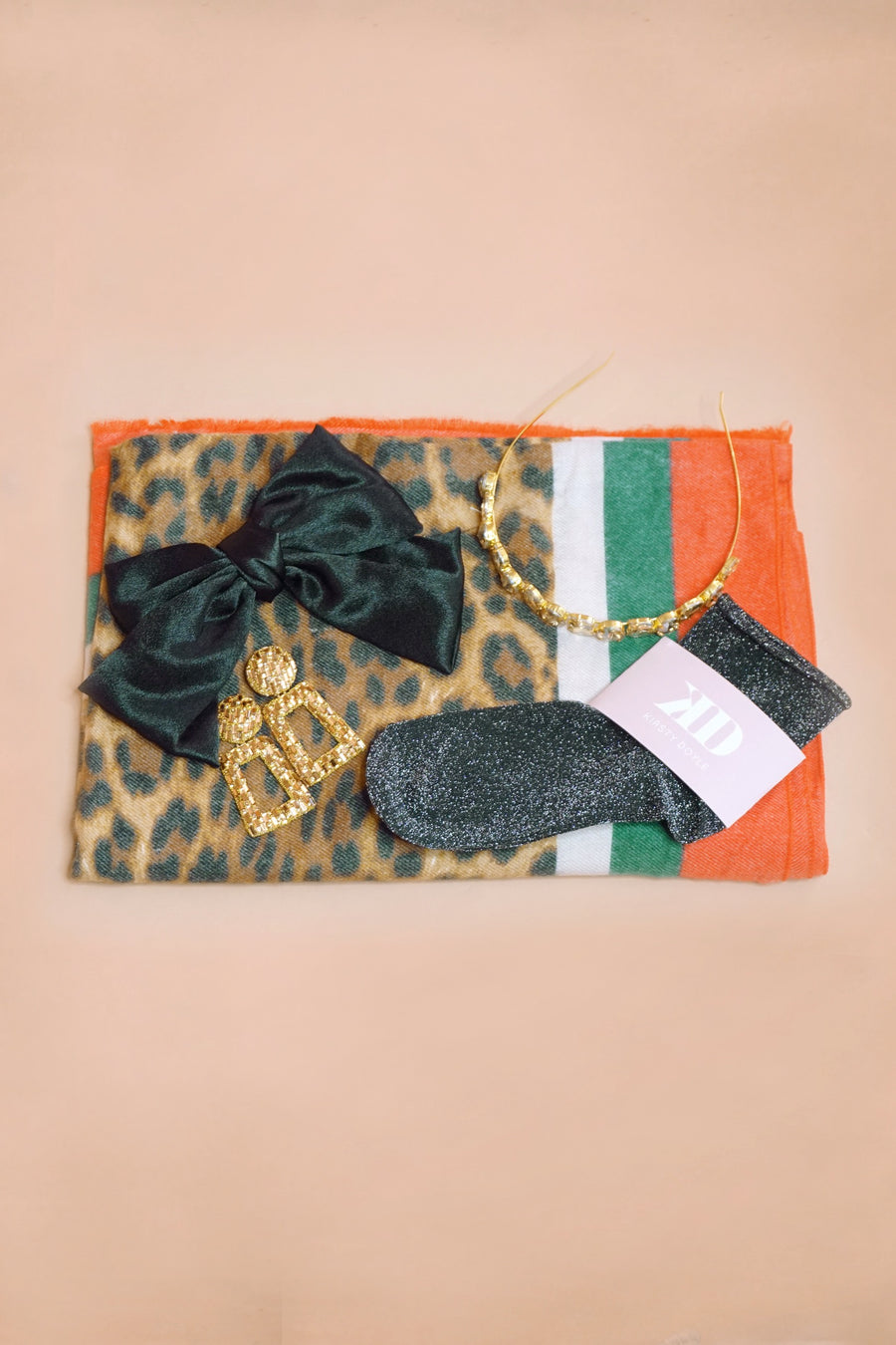 Red And Green Stripe Leopard Scarf - SALE