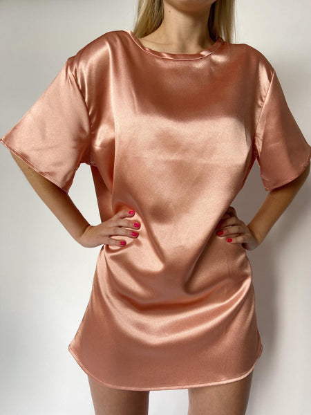 Rose Satin Lounge Shirt