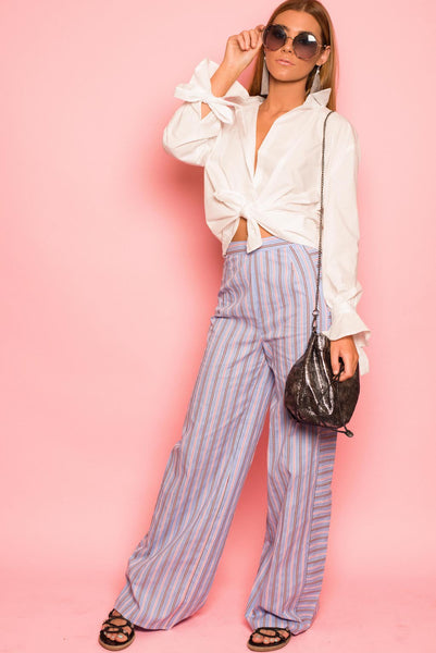 Blue Striped Cotton Trousers