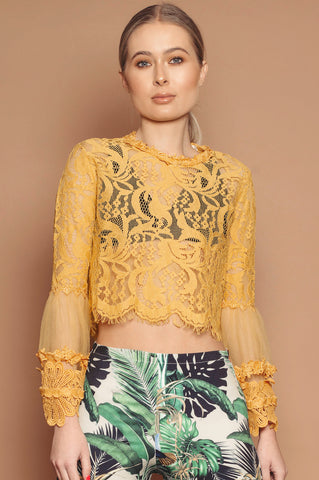 Yellow Lace Flared Sleeve Cropped Top