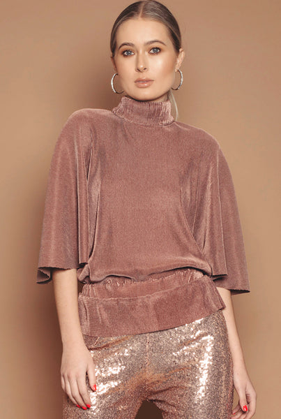 Rose Gold Cape Sleeve Backless Top