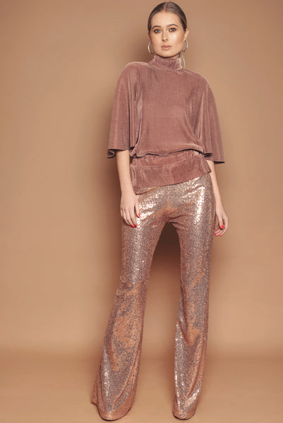 Rose Gold Sequin Trousers