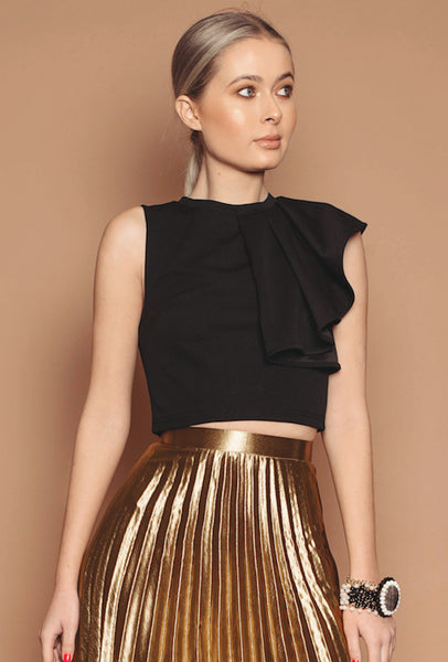 Black Frill Cropped Top