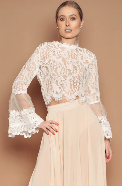 Lace Flared Sleeve Cropped Top