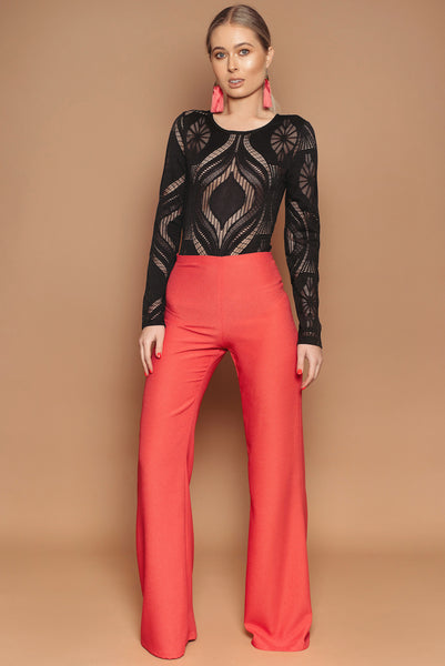 Coral Crepe Flares