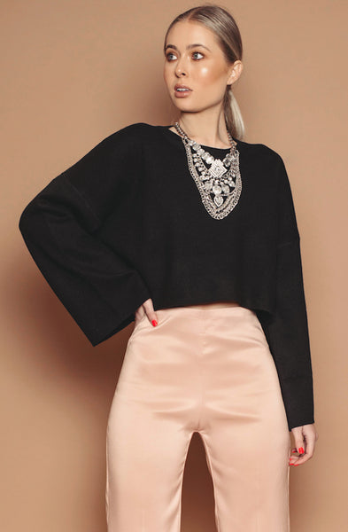 Cropped Flared Sleeve Jumper