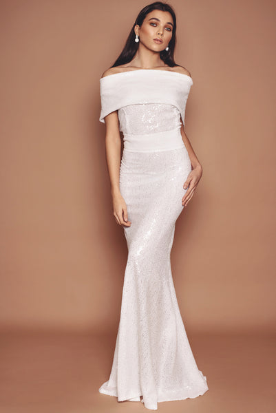 Pearl White Sequin Holly Fluted Dress