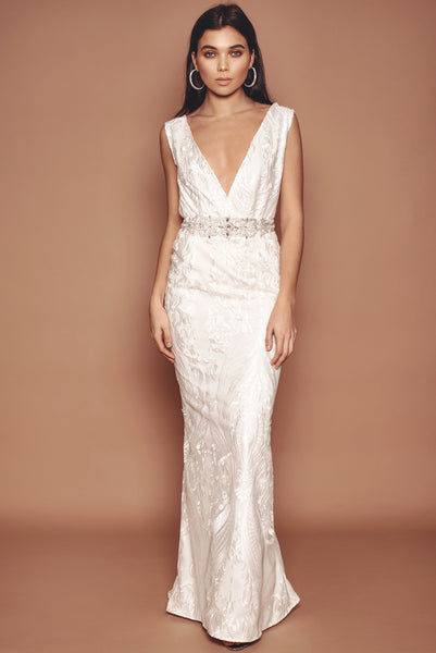 Ivory Lace and Crepe Plunge Front Gown