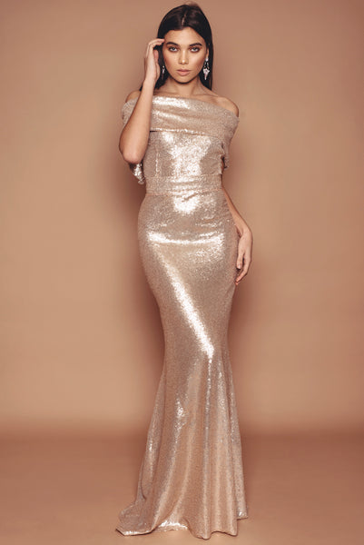 Gold Sequin Holly Fluted Dress