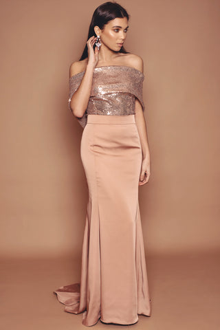 Rose Gold Sequin and Crepe Fluted Dress