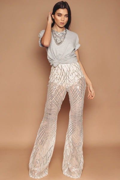 Silver Sequin Trousers