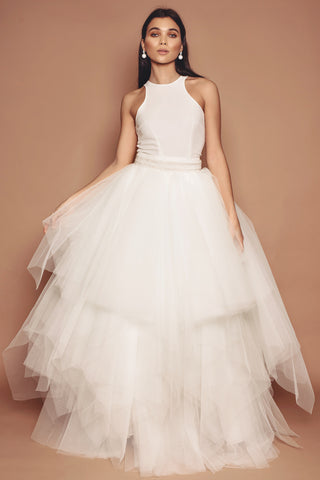 Ivory Racer Neck body with Multi-layered Tulle Skirt