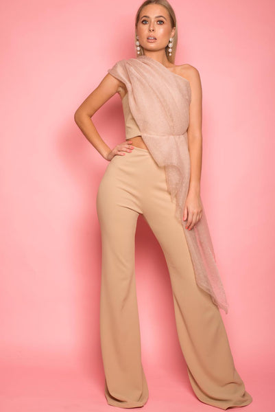 Beige Crepe Scuba Flared Trousers