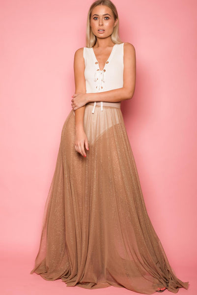 Gold Glitter Sheer Maxi Skirt