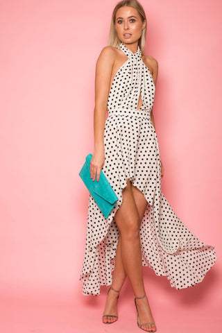 Ivory & Black Polka Dot Halter Neck Dress