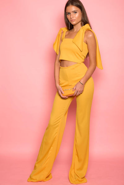 Mustard Textured High Waisted Trousers