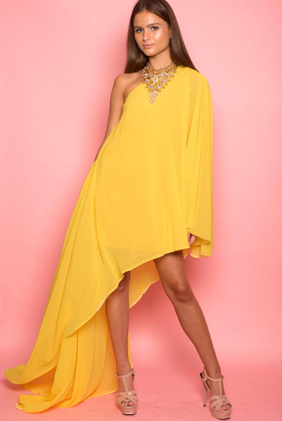 Yellow Georgette Drape Dress